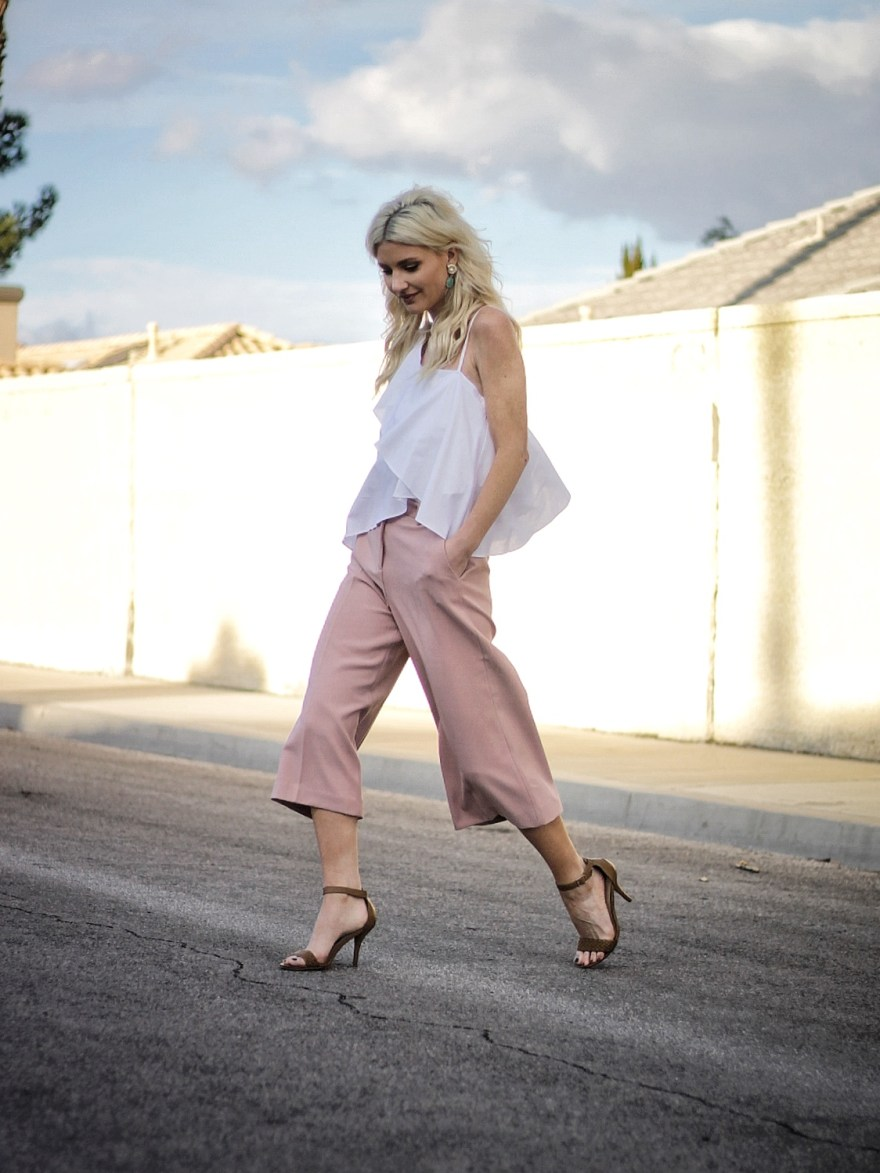 one shoulder, shoulder cut out, spring, summer, trends, culottes, fashion blogger, outfit, how to wear