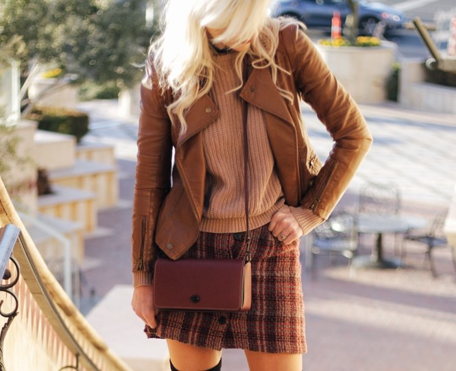plaid skirt, leather jacket, coach, purse, dinky purse, over the knee boots, fashion, blogger, outfit, ootd, fall style, witner style, the nomis niche, lindsey simon