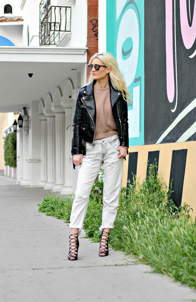 fringe, leather, jacket, lace up, heels, boyfriend, girlfriend, jeans, denim, white jeans, camel sweater, outfit, street style, fashion blogger, city chic, minimalist, outfit ideas