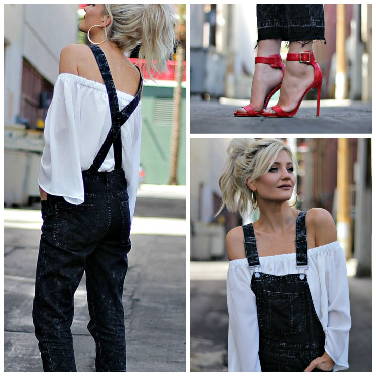 french connection, off the shoulder, overalls, red heels, spring style, street style, streetwear, las vegas, fashion, style, outfit, blogger, platinum, blonde, hair, beauty blogger, ootd, how, to, wear,