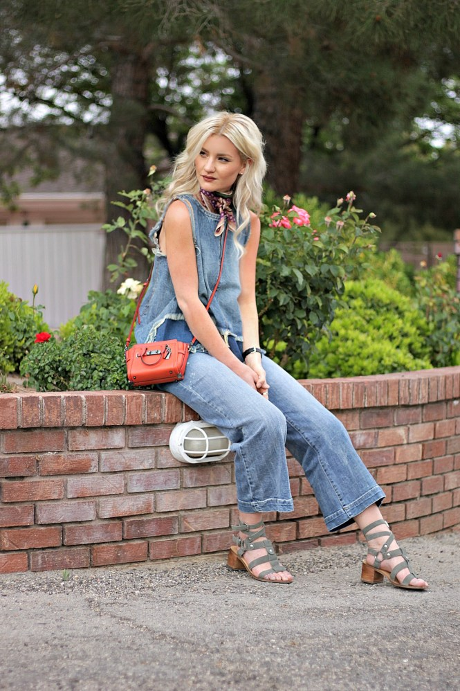 denim on denim, coach, swagger, orange bag, gladiator sandals, cropped, jeans, kick flares, denim top, outfit, ootd, fashion, style, blogger, platinum, hair, blonde, neck tie, neck scarf, bandana, how to wear, inspo