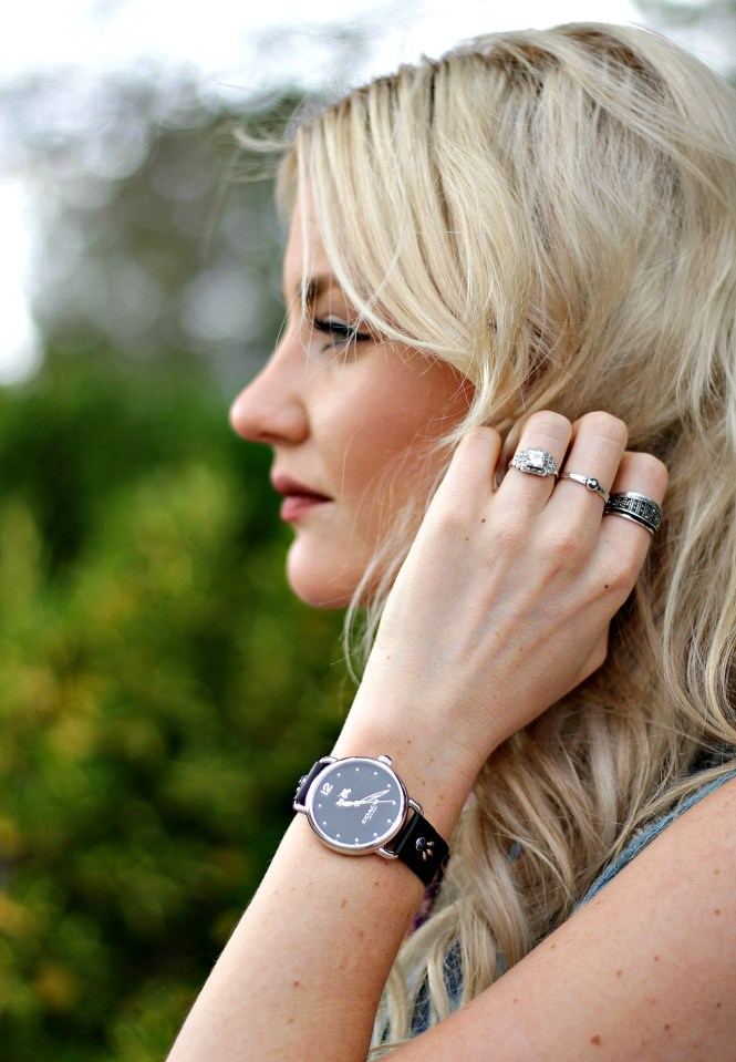 coach watch, summer style, platinum, blonde, hair, fashion blogger, beauty blogger, stacked rings, how to wear,