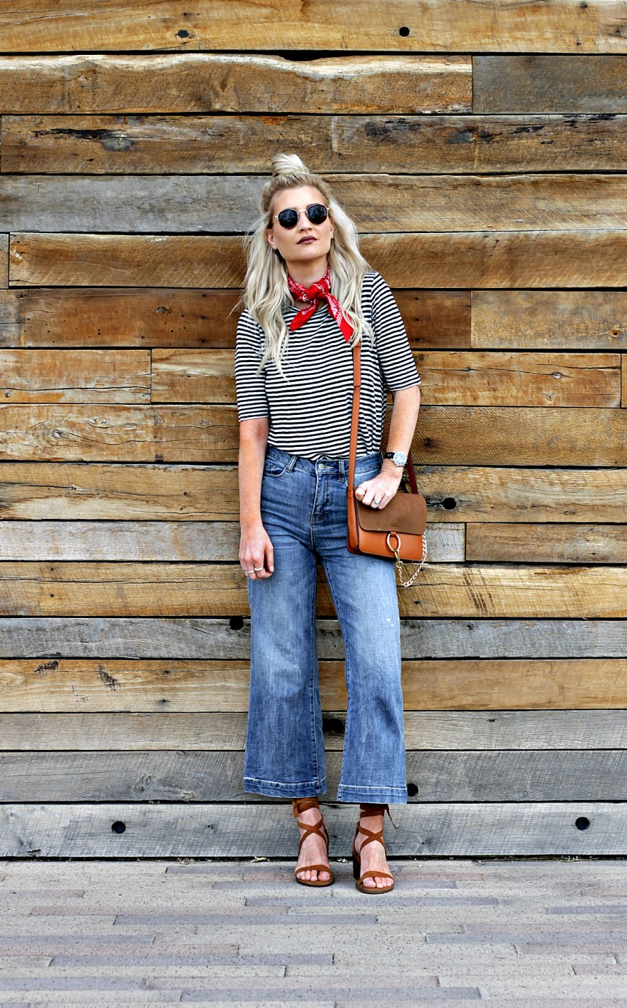 culottes, striped tee, bandana, how to wear, chloe, faye, bag, purse, lace up, sandals, tie up, circle sunglasses, fashion blogger, fashion, outfit, ideas, inspo, las vegas, blogger