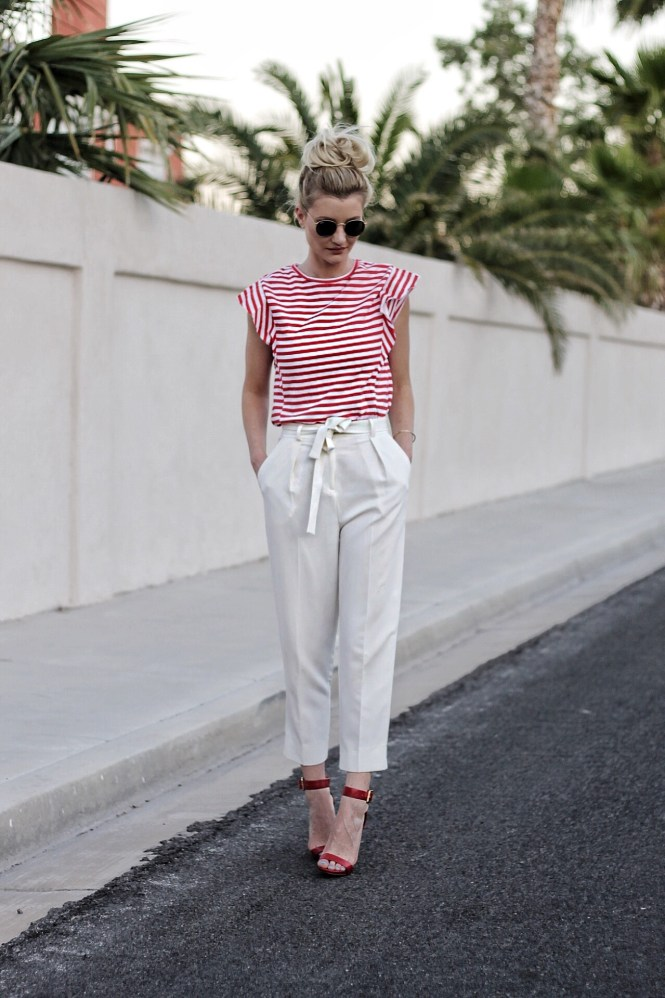 americana style, american summer, messy bun, topknot, las vegas, fashion blogger, fashion, style, inpso, outfit ideas, summer outfit, ootd, blonde hair, ray-ban, zara, top, summer style, fourth of july, 4th of july, white pants, trousers, paperbag waist, topshop pants, red heels