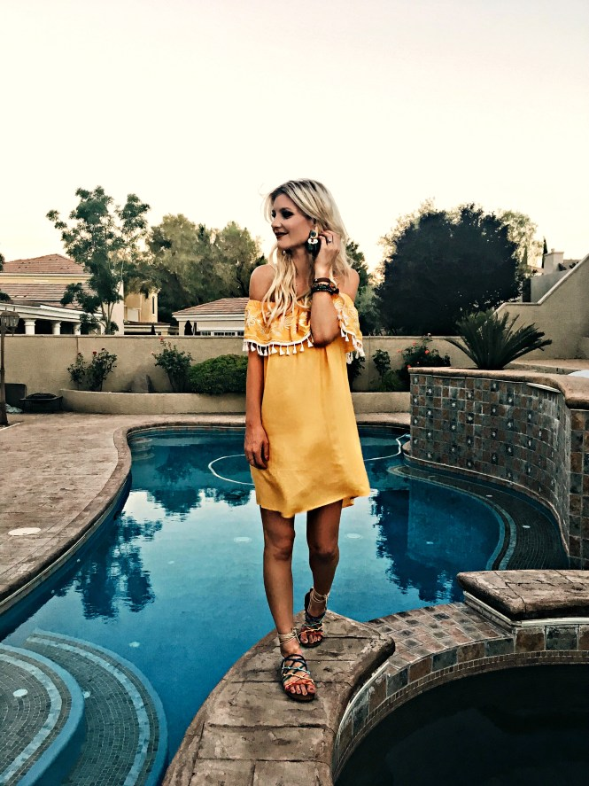 yellow dress, summer outfit, summer style, summer ootd, california, cali style, las vegas, fashion blogger, fashion, style inspo, outfit inspo, how to waer, yellow, shades of yellow, yellow for your skin tone, strappy sandals, rainbow sandals, boho style, bohemian,