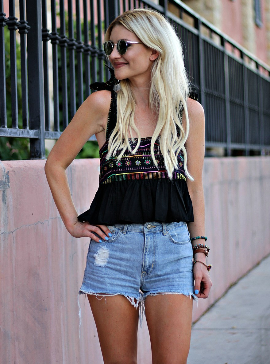 summer style, casual style, summer outfit, peplum top, denim shorts, jean shorts, high waisted, shorts, high waist, studded sandals, saloni top, isabel marant sandals, ootd, outfit inspo, edgy summer outfit, California style, Cali style, socol, las vegas, blogger, fashion blogger, beauty blogger