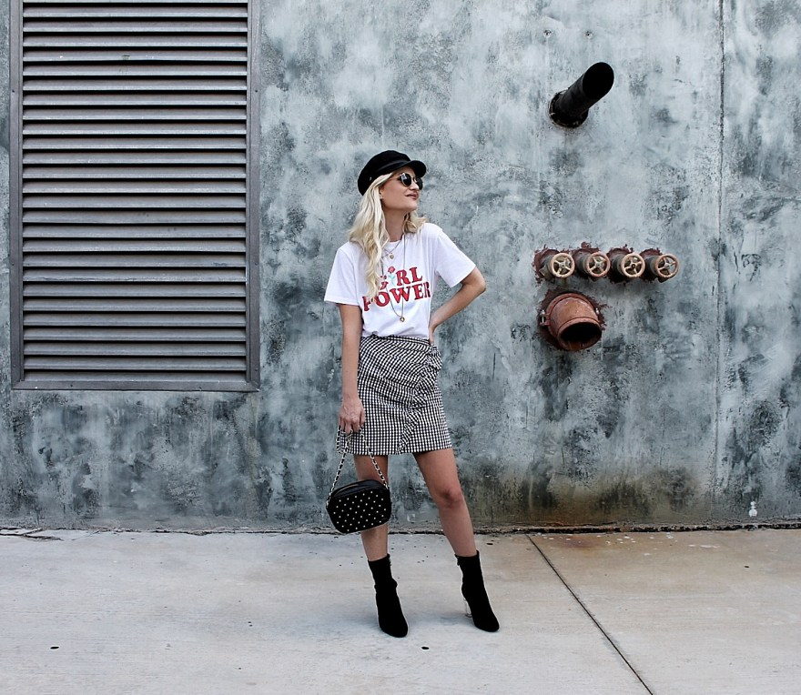 gingham skirt, asos, street style, cabby hat, how to wear, military hat, outfit ideas, sock booties, fall style, summer style, summer outfit, fall outfit, outfit Inso, outfit ideas, the noms niche, Las Vegas, fashion blogger, fashion, style, edgy outfit, edgy summer outfit, edgy fall outfit, studded back, chain bag, girl power tee, girl power, t-shirt, Lindsey Simon, the noms niche