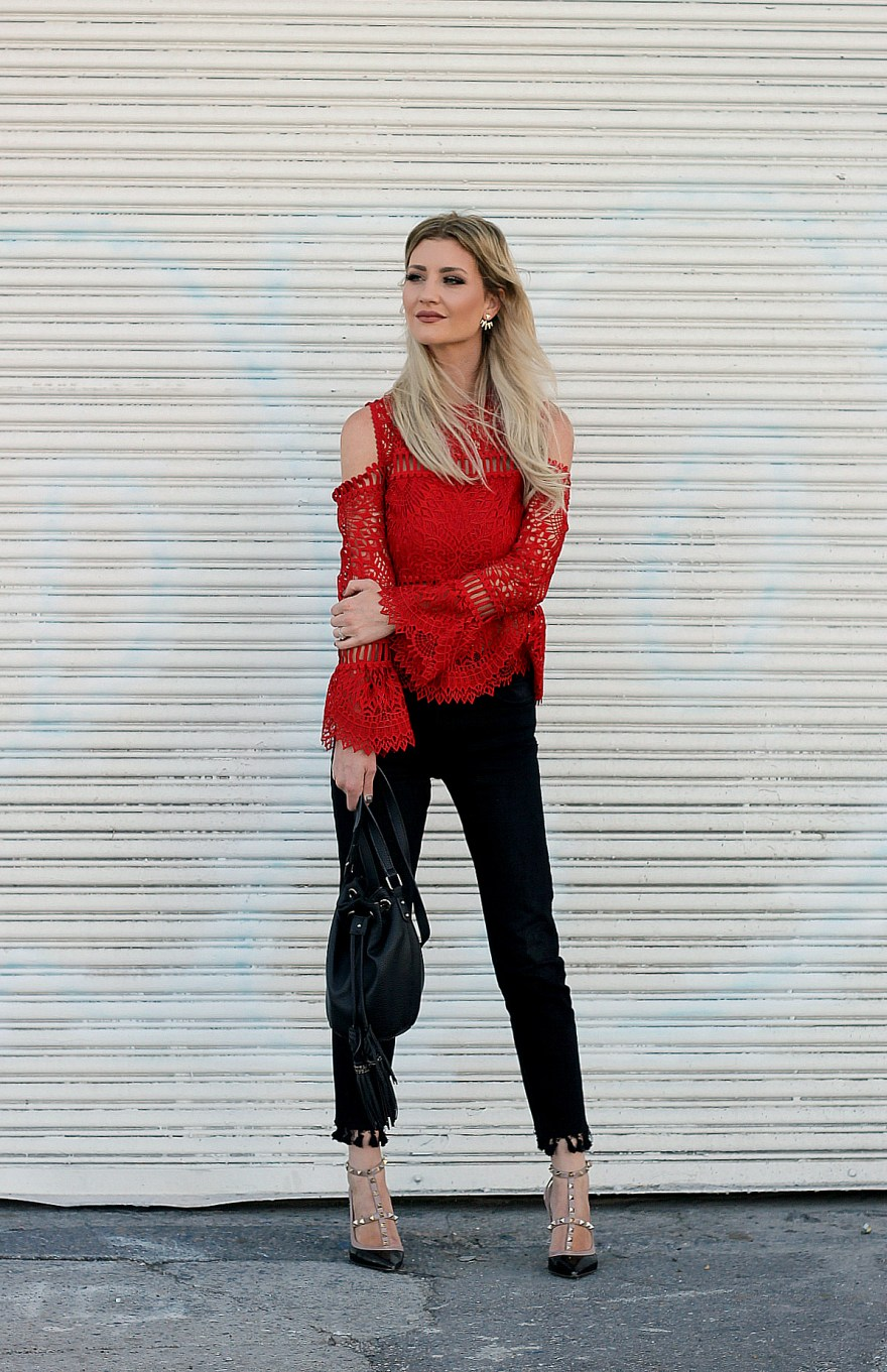 saylor, saylor brand, Red lace top, kick flares, fall style, fall outfit, holiday outfit, Valentino heels, studded heels, fall style, fall outfit Inso, how to wear, lace, bucket bag, the nomis niche, Lindsey Simon, Las Vegas blogger, fashion blogger, fashion, style, ootd, street style