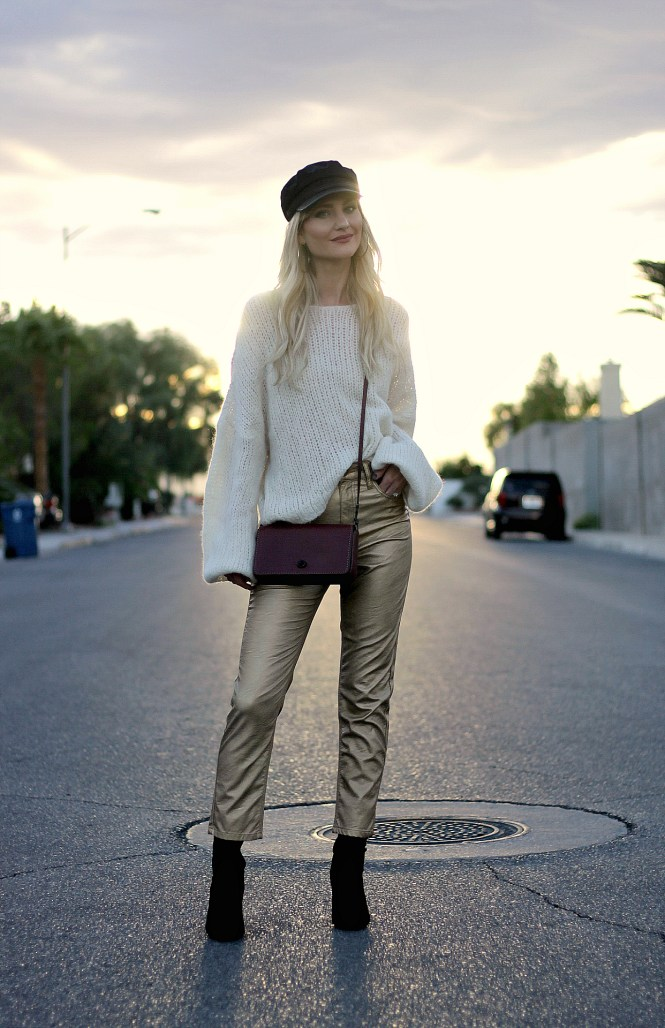 golden hour, golden pants, gold pants, gold jeans, golden jeans, metallic pants, metallic jeans, fall style, fall outfit, cabbie hat, military hat, coach, dinky purse, free people, slouchy sweater, how to wear, style Inspo, style, fashion, fall fashion, fall outfit, fall style, winter style, winter outfit, street style, edgy outfit, edgy style, fashion blogger, beauty blogger, Las Vegas, Las Vegas blogger, the noms niche, Lindsey Simon,