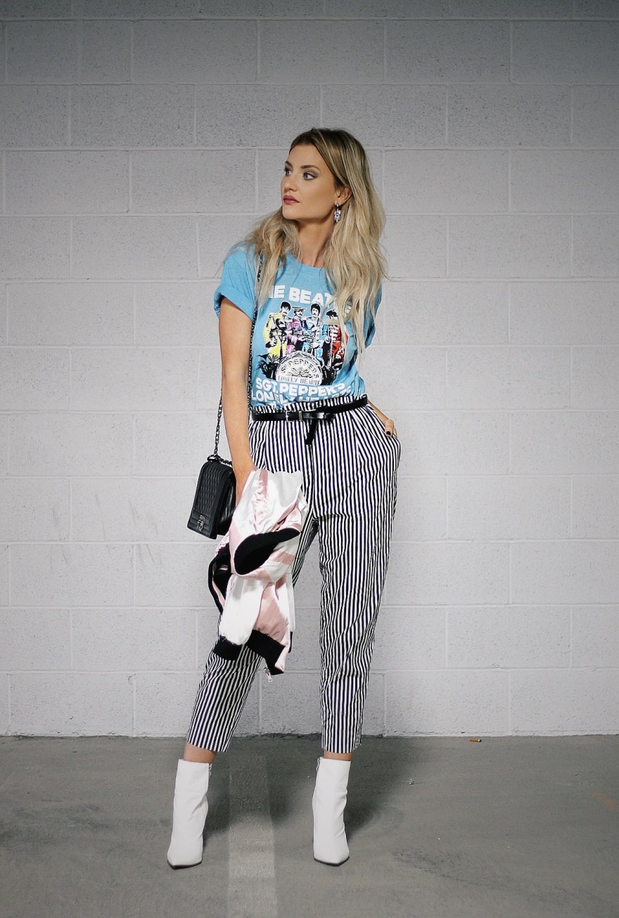 white boots, striped pants, Zara, Beatles, vintage tee, band tee, street style, edgy style, fall outfit, fall fashion, fall trends, the noms niche, lindsey simon, Las Vegas, fashion blogger, beauty blogger, paperboy waist pants, belted pants, how to wear, outfit inspiration, outfit ideas,