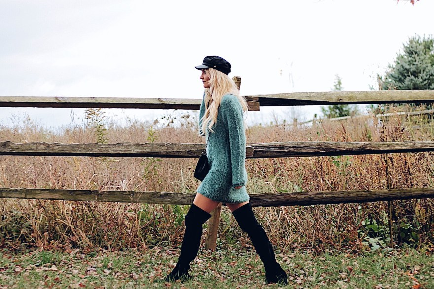 sweater, sweater dress, baker boy hat, over the knee boots, Las Vegas blogger, fashion blogger, beauty blogger, OTK boots, captains hat, fall style, fall outfit, fall fashion, winter fashion, winter style, holiday style, thanksgiving outfit, thanksgiving outfit ideas, holiday outfit ideas, holiday style ideas, causal holiday outfit, The Noms Niche, Lindsey Simon, outfit inspiration, how to wear, how to wear over the knee boots, how to wear baker boy hat, how to wear sweater dress