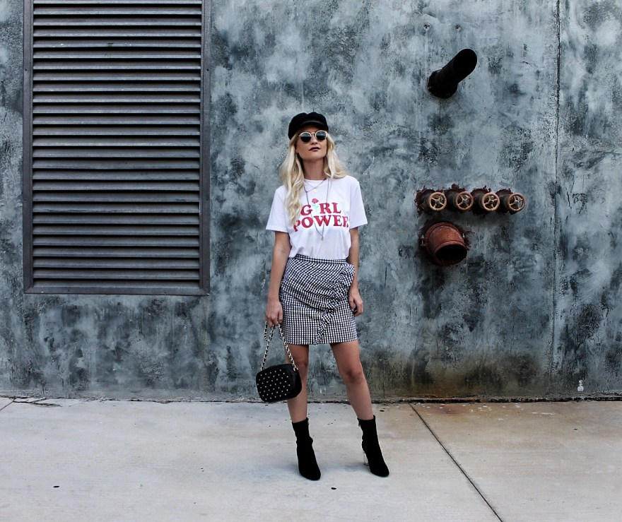 outfit roundup, 2017, 2018 style, fashion blogger, style blogger, beauty blogger, blonde hair, Las Vegas blogger, Lindsey Simon, The Nomis Niche, street style, casual style, feminine style, edgy outfit, outfit inspiration, how to wear, outfit ideas, feminist, feminist clothing, gingham, gingham skirt, sock booties, how to wear, baker boy hat, ootd, cabbie hat, street style,