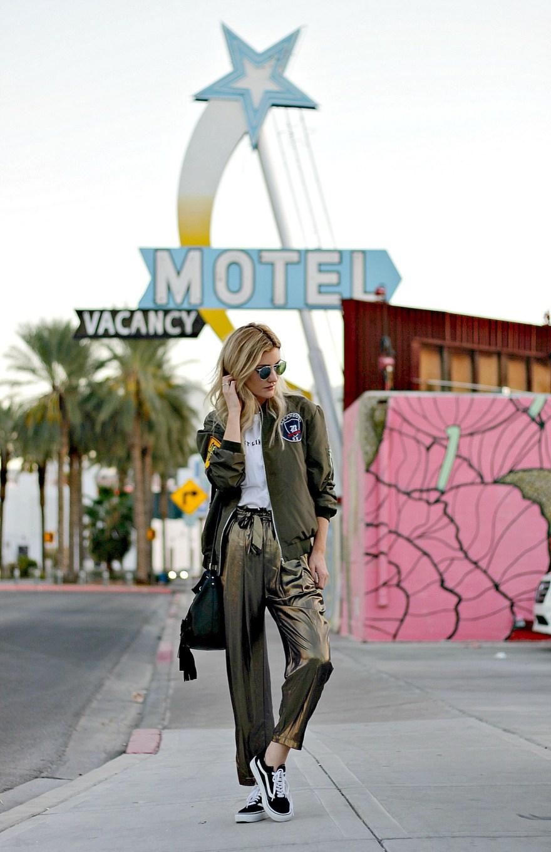 outfit roundup, 2017, 2018 style, fashion blogger, style blogger, beauty blogger, blonde hair, Las Vegas blogger, Lindsey Simon, The Nomis Niche, street style, casual style, feminine style, edgy outfit, outfit inspiration, how to wear, outfit ideas, gold pants, gold lame pants, bomber jacket, vans, vans girls, vans old skool, old school, edgy outfit, spring outfit ideas, Las Vegas, blonde hair,