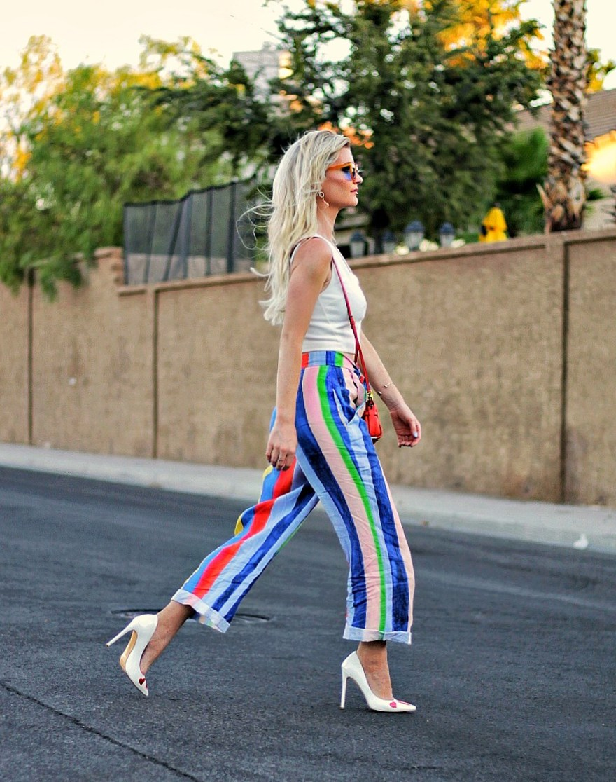 outfit roundup, 2017, 2018 style, fashion blogger, style blogger, beauty blogger, blonde hair, Las Vegas blogger, Lindsey Simon, The Nomis Niche, street style, casual style, feminine style, edgy outfit, outfit inspiration, how to wear, outfit ideas, summer style, colorful style, colorful outfit, Summer outfit ideas, heart print heels, blonde hair, street style, Sumer trends, mara Hoffman, pants, striped pants