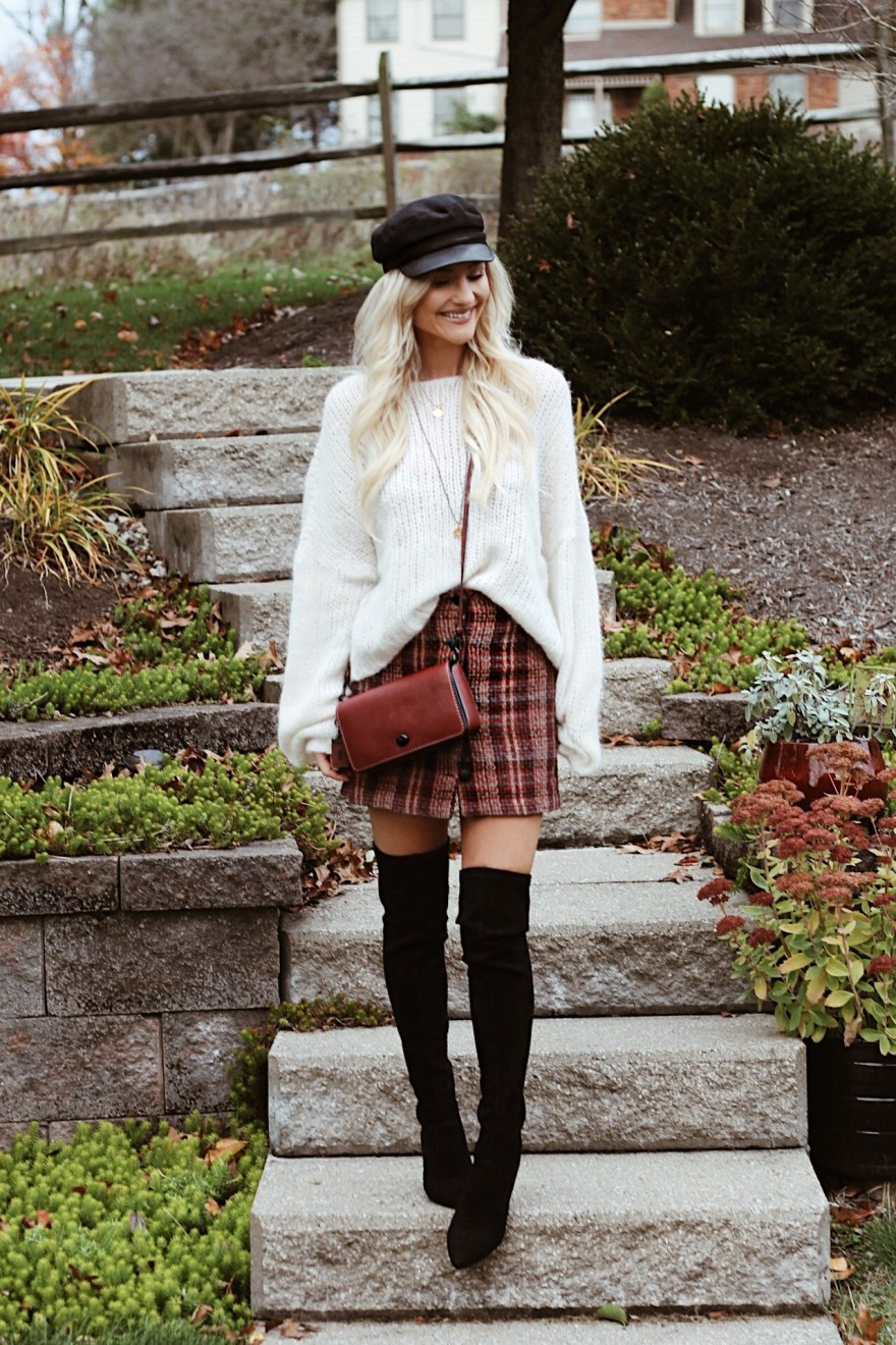 winter style, winter fashion, winter outfit, how to wear, outfit ideas, outfit inspiration, plaid skirt, over the knee boots, free people, slouchy sweater, cabbie hat, baker boy hat, the Nomis Niche, Lindsey Simon, fashion blogger, beauty blogger, top fashion blogger, Las Vegas, coach dinky bag, baker boy hat, cabbie hat, winter trends 2017, 2018