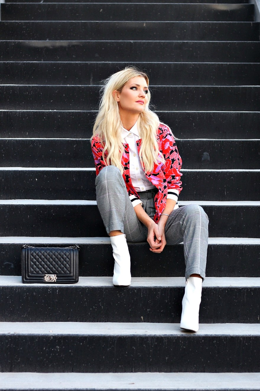 outfit roundup, 2017, 2018 style, fashion blogger, style blogger, beauty blogger, blonde hair, Las Vegas blogger, Lindsey Simon, The Nomis Niche, street style, casual style, feminine style, edgy outfit, outfit inspiration, how to wear, outfit ideas, bomber jacket, who what wear, target, white booties, white boots, plaid pants, spring style, spring outfit ideas, edgy, work style,