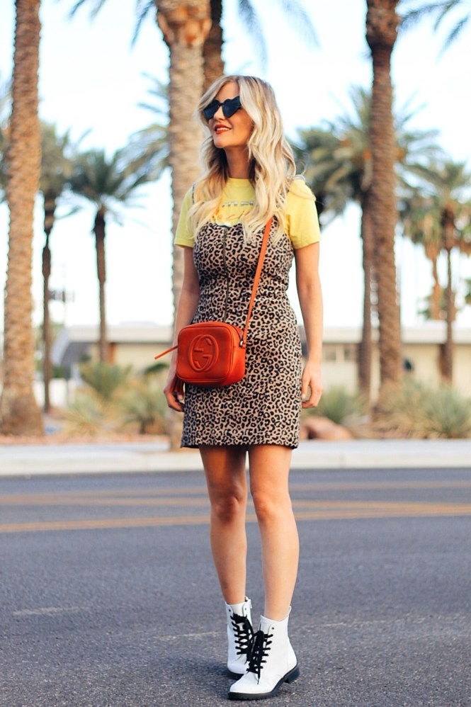 animal print, leopard print, Gucci, Steve Madden wild fable, heart shaped sunglasses, leopard print dress, fall style, summer style, fall outfit, summer outfit, soho disco bag, white boots, white booties, casual style, California style, cali style, Las Vegas fashion blogger, Vegas blogger, Lindsey Simon, The Nomis Niche,