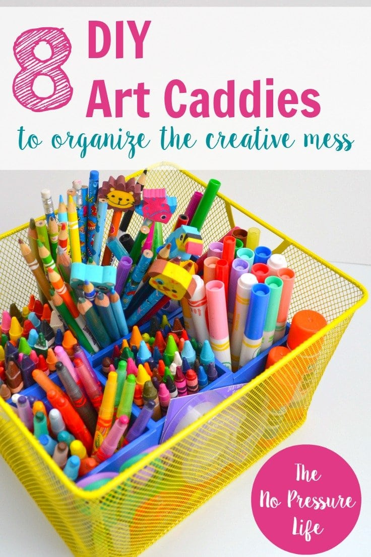 These DIY art caddy ideas are a great way to organize kids art supplies! Organize craft supplies with a caddy for easy and portable craft storage.