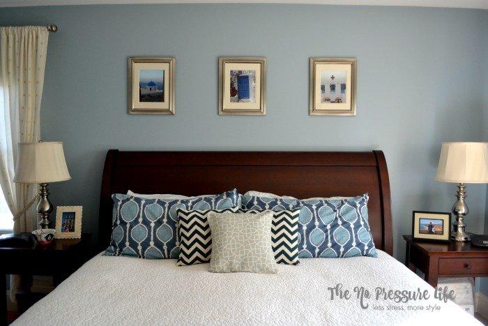 Benjamin Moore Santorini Blue Bedroom - The No Pressure Life