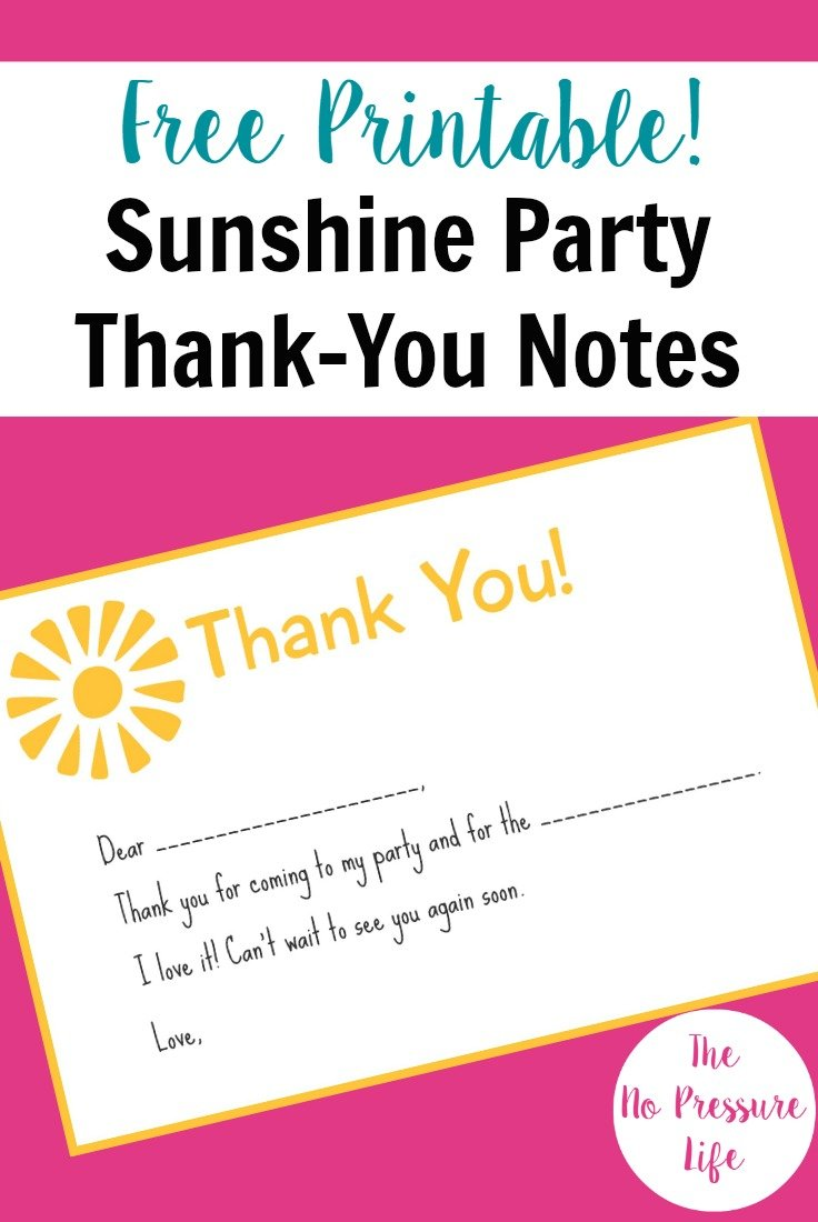 Get these free printable You Are My Sunshine party thank-you notes and lots of other easy sunshine party ideas!