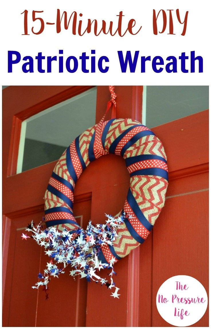 Make this DIY Patriotic wreath in just 15 minutes! Easy 4th of July decoration or Memorial Day wreath.