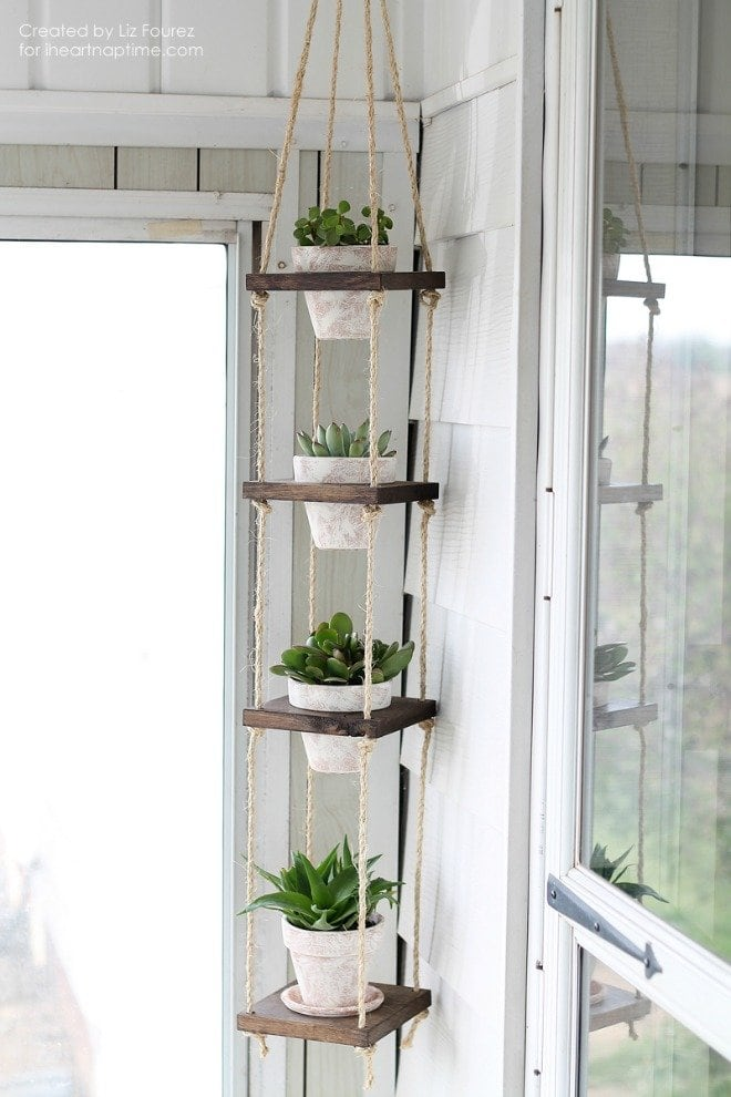 Please pin from original source - DIY Vertical Plant Hanger via iHeart Naptime