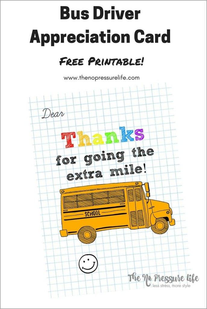 bus driver appreciation card free printable. Black Bedroom Furniture Sets. Home Design Ideas