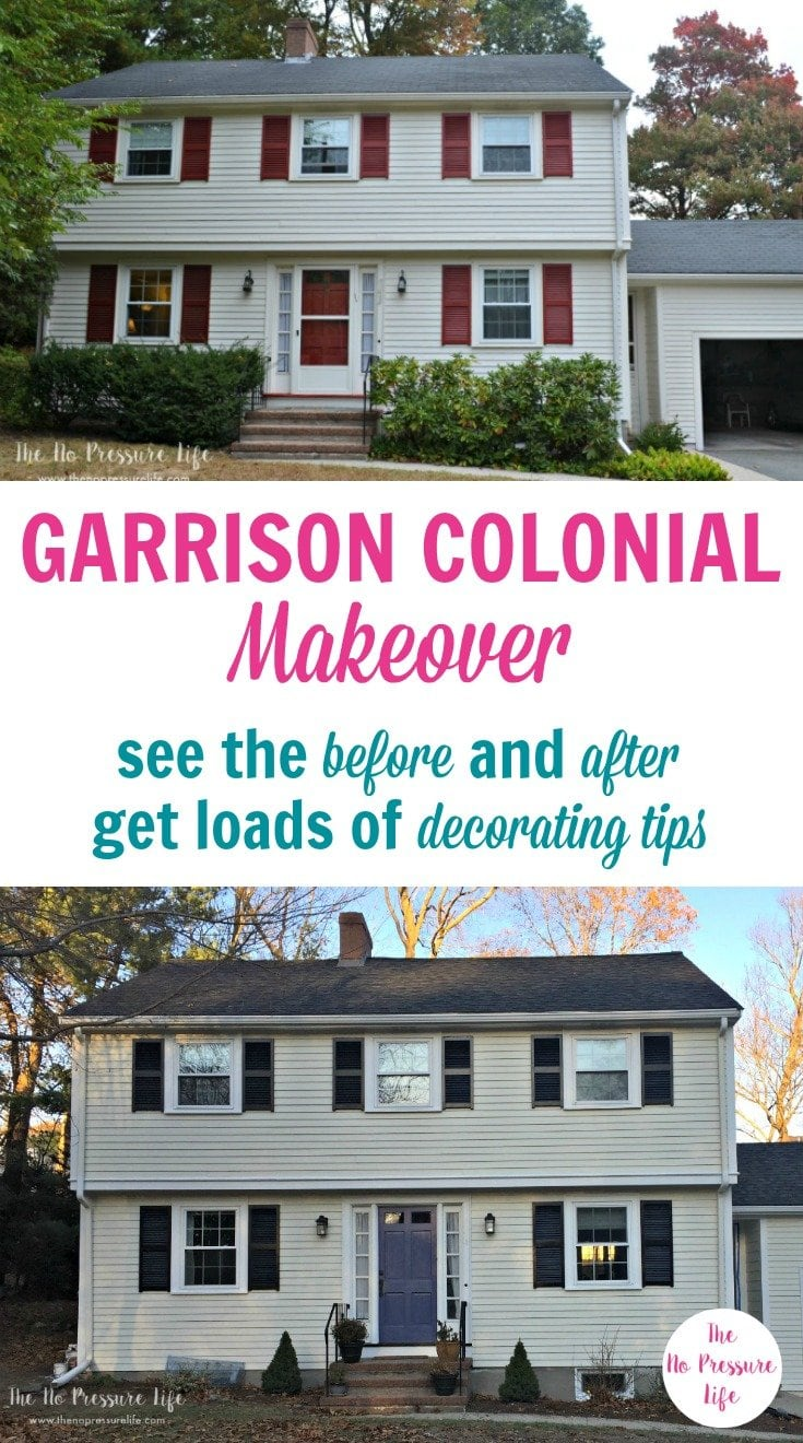 Check out how this garrison colonial got a major makeover to both the interior and exterior to create curb appeal and comfort. The before and after is amazing! If you're looking to design, remodel or put an addition on your home, you'll love this home tour, which includes a porch, kitchen, and more. #homemakeover #homedesign #beforeandafter #housetour #hometour #colonial #colonialhouse