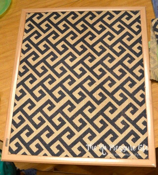 Adding fabric to a framed cork board