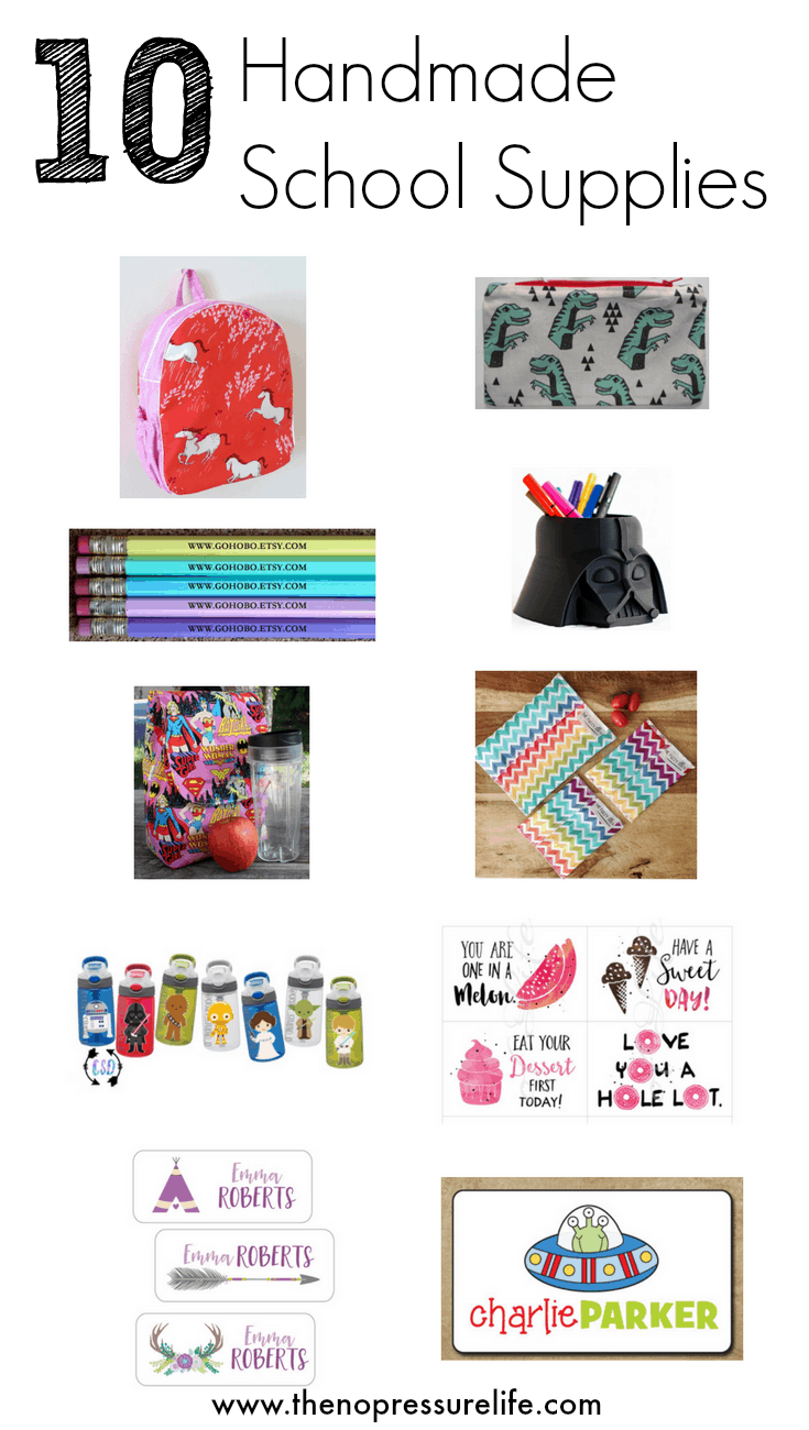 Looking for unique school supplies but don't have time to make them yourself? This is a great list of handmade school supplies you can buy on Etsy!