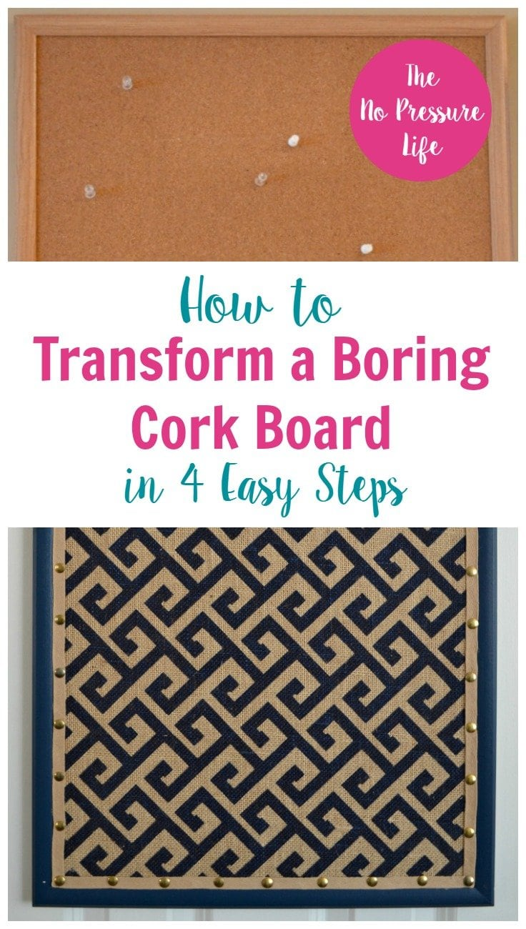 cork board makeover tutorial