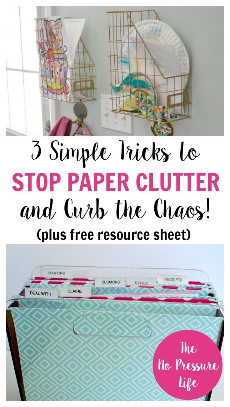 These are easy and inexpensive tips to stop paper clutter before it starts! Learn how to organize papers, plus get a free resource sheet with ways to eliminate junk mail. | The No Pressure Life