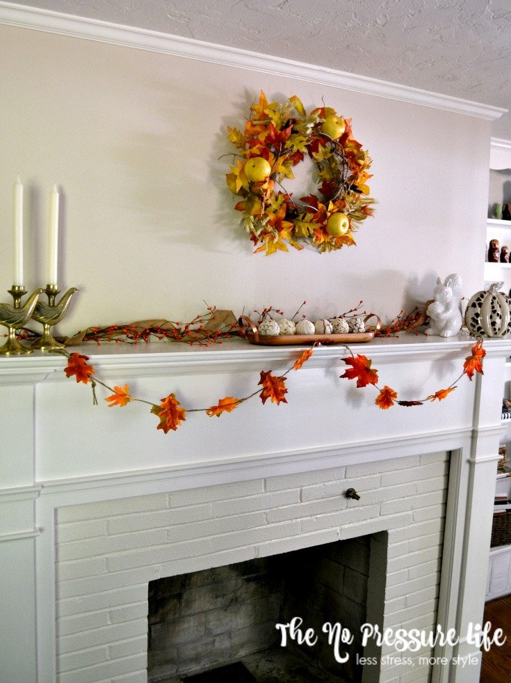 Fall Mantel with Leaf Garland - The No Pressure Life