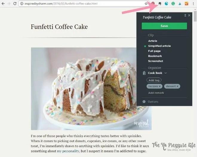 Evernote Web Clipper for Recipes | The No Pressure Life