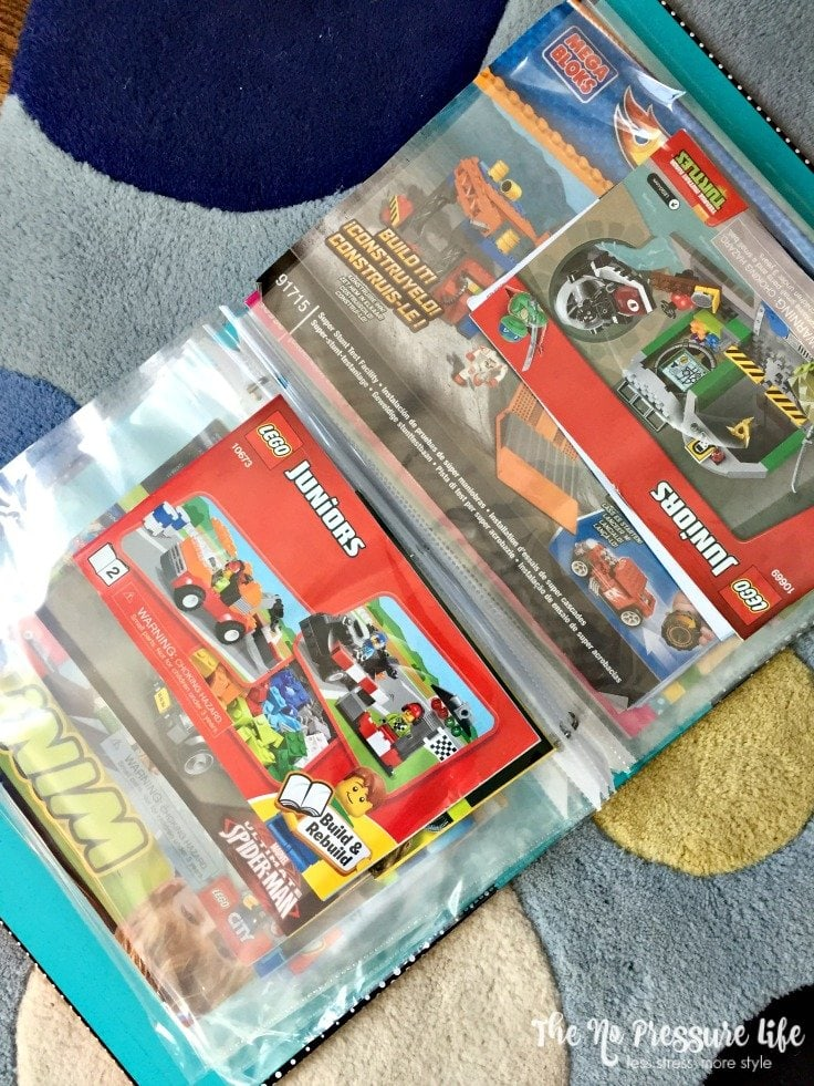 Great idea! Organize Lego instruction manuals in a 3-ring binder. Get more Lego organization ideas at The No Pressure Life.