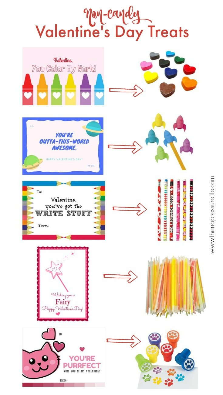 Various non-candy Valentine's Day treats and matching printable cards