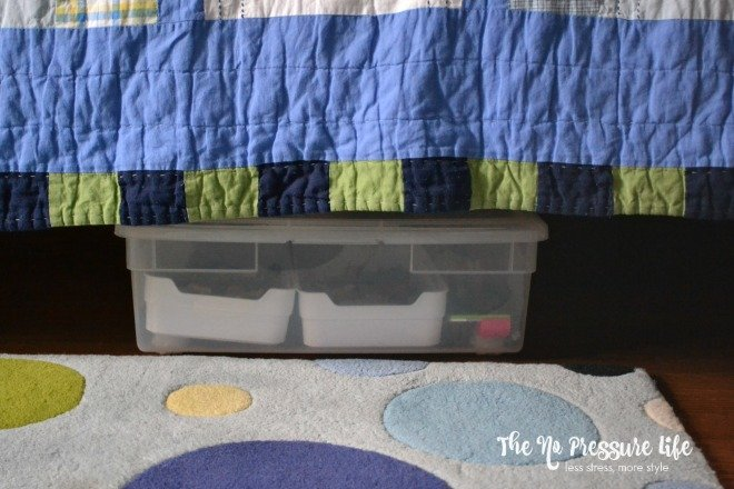 How to organize LEGOs under the bed