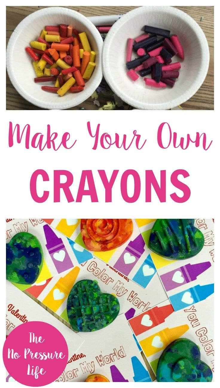 These DIY crayons are a fun way to recycle broken crayons and transform them into cute party favors or Valentine's Day treats! Learn how to make them at The No Pressure Life.
