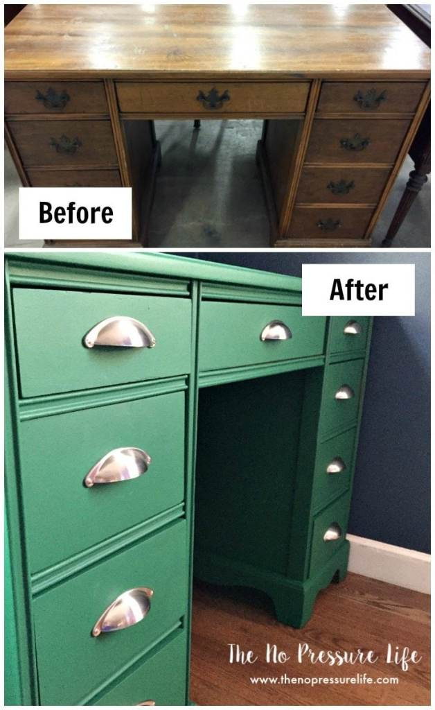 painted green furniture. Before And After Image Of A Brown Thrift Shop Desk Painted Green, With New Brushed Green Furniture
