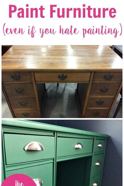 Before and after image of an old brown desk painted with green chalk paint.