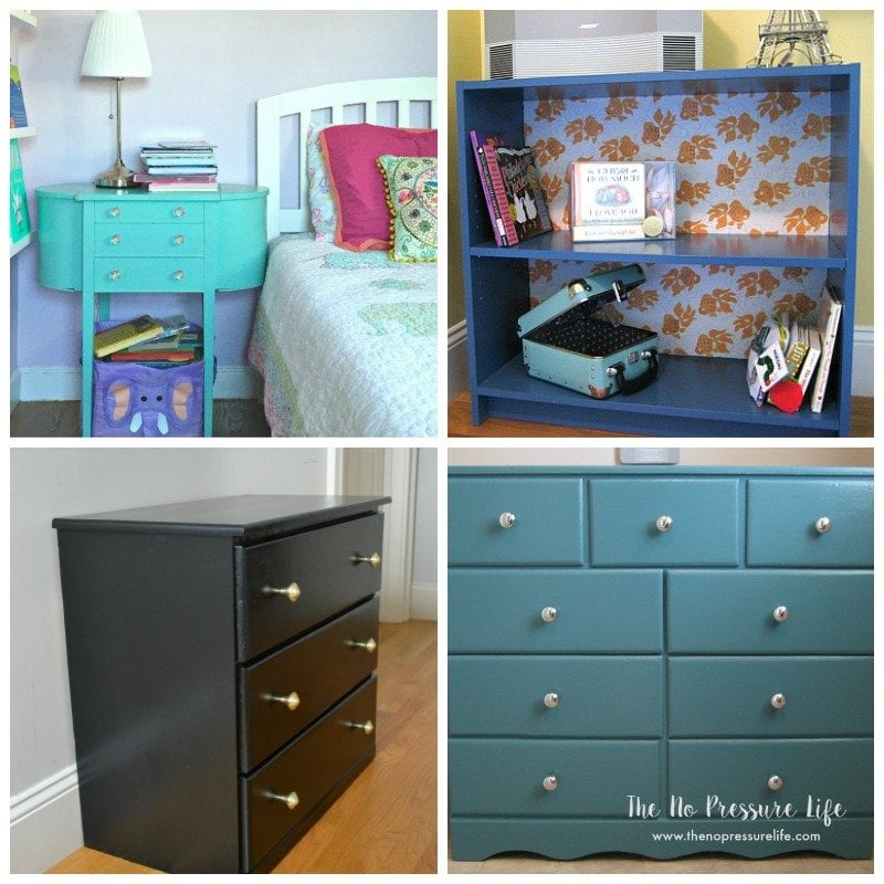 Four painted furniture pieces - aqua nightstand, blue bookcase, black dresser, and teal dresser