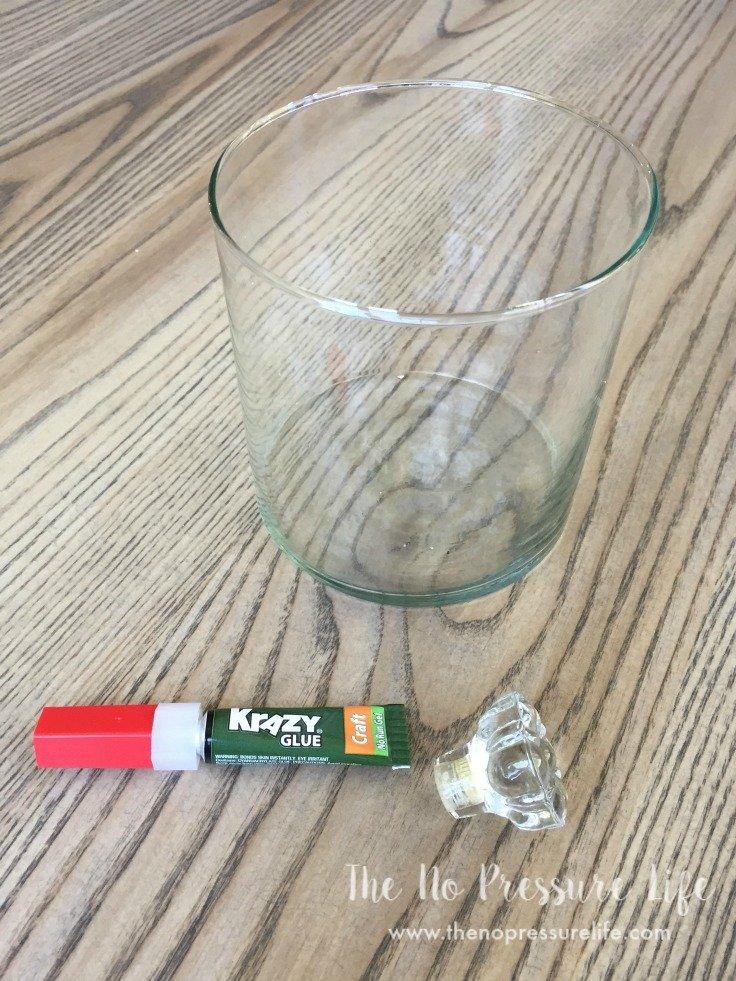 Supplies to make a glass DIY cloche (bell jar)