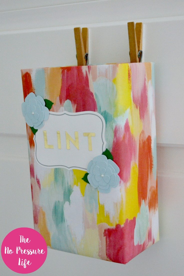 Pretty DIY lint bin for the laundry room