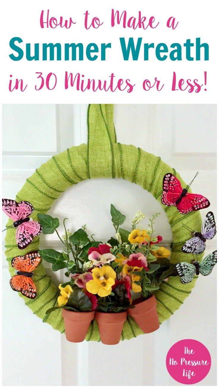 how to make a summer wreath with flowers and butterflies