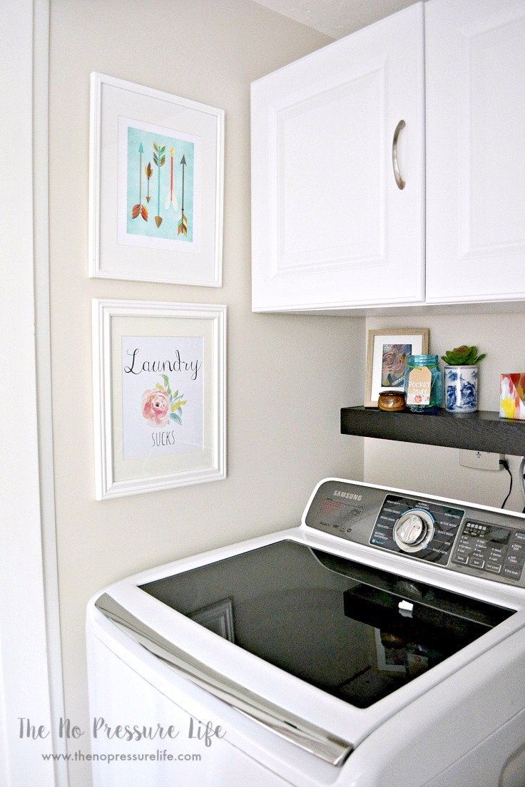 Laundry closet ideas, plus free printable laundry room art. See the whole small laundry closet makeover at The No Pressure Life.