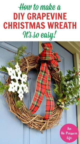 Easy DIY Grapevine Christmas Wreath