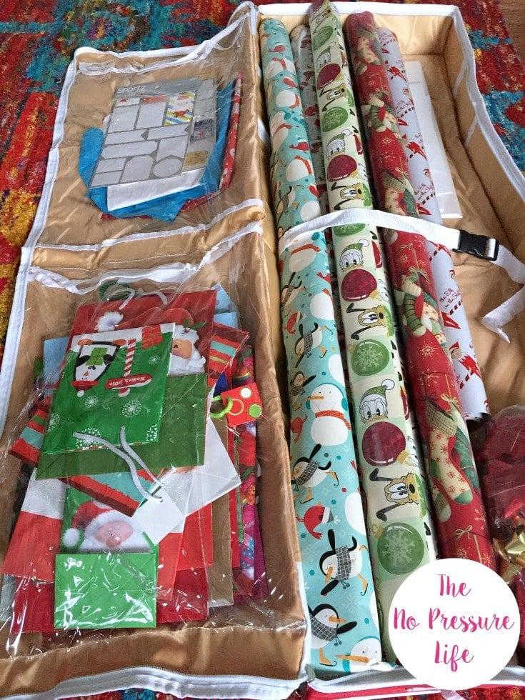 Wrapping paper storage ideas - gift bag and wrapping paper organizer for under the bed