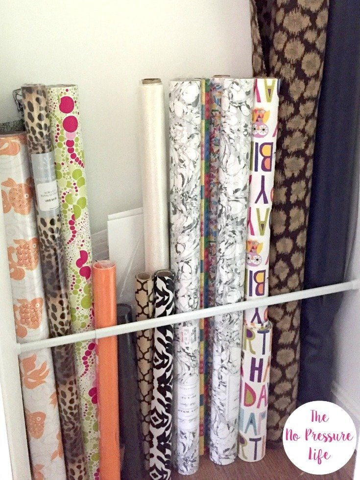 How to store wrapping paper in the closet