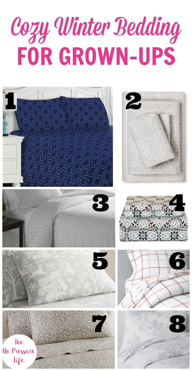 Cozy winter bedding for adults. Flannel sheet sets and flannel duvet covers for adults.