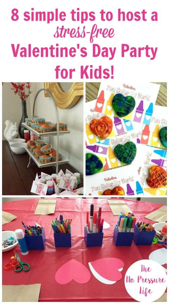 Collage of a kids' Valentine's Day party with a cupcake decorating station, craft projects on a red tablecloth, and Valentine's Day cards